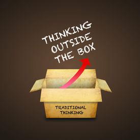 foto of thinking outside box  - Thinking outside the box - JPG