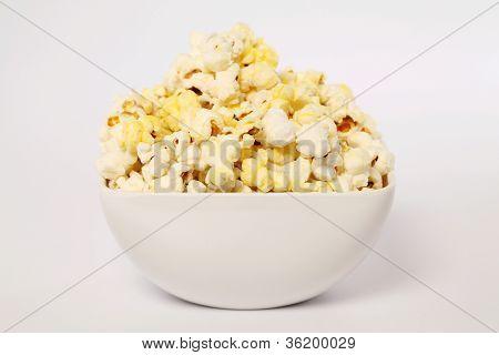 Bowl Of Popcorn On White