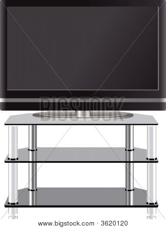 Flat Panel Television On Modern Tv Stand