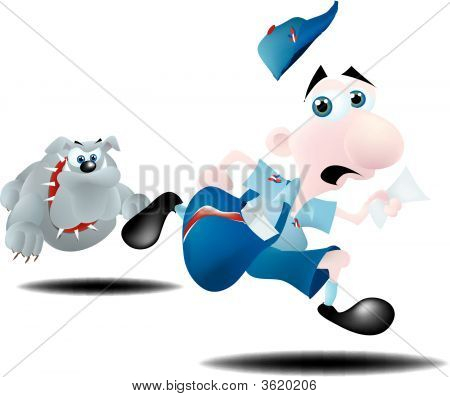 Mailman Running From Dog