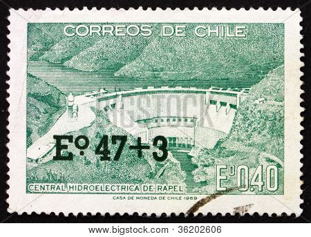 Postage stamp Chile 1969 Rapel Hydroelectric Plant