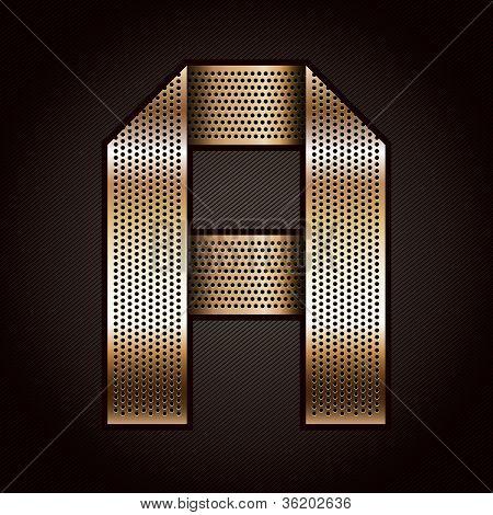 Letter metal gold ribbon - A