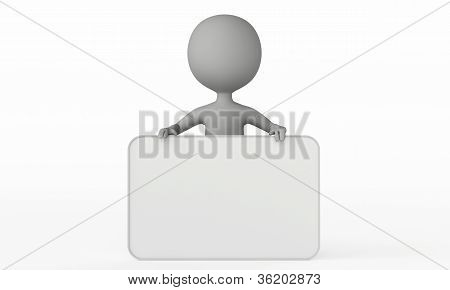 3D Humanoid Character With A Empty Board