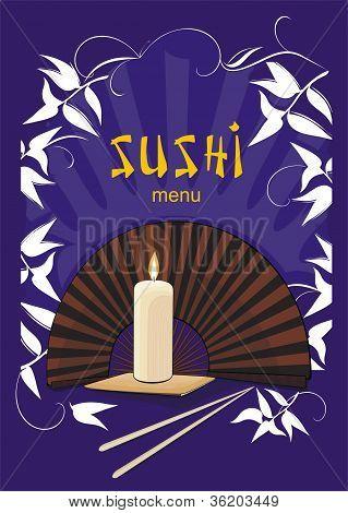 Sushi-Menü mit asiatischen Fan und Kerze