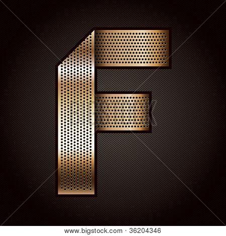 Letter metal gold ribbon - F
