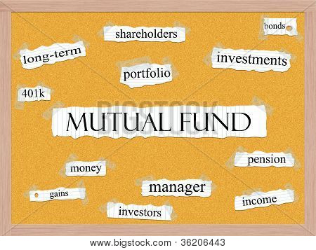 Mutual Fund Corkboard Word Concept