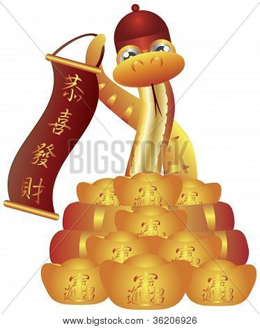 Chinese Snake With Hat Banner And Gold Bars