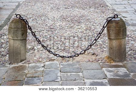 Stone Columns With A Chain