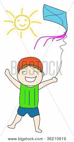 Kid flying kite under the SUN