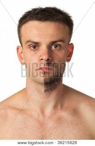 Man With A Beard On Half