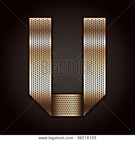 Letter metal gold ribbon - U