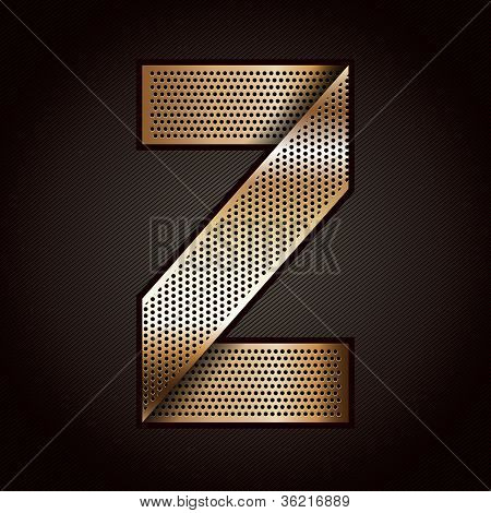 Letter metal gold ribbon - Z