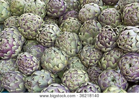 Fresh artichokes on display