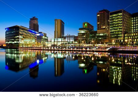 Modern buildings at Salford Quays Manchester