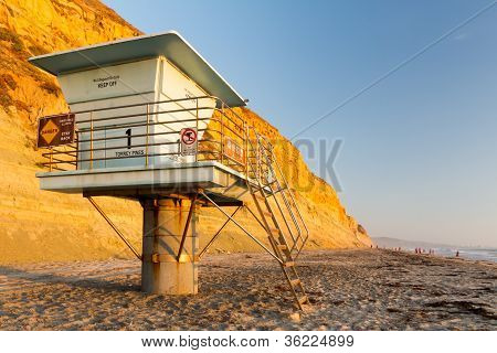 Lifeguard Tower by Cliff at Sunset