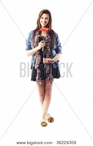 Teenage Girl Holding Flower Standing Casually