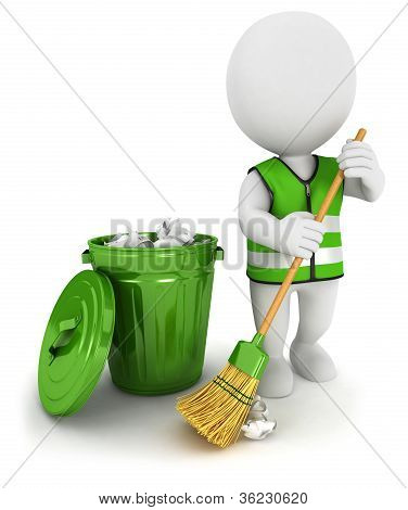 3d white people street sweeper