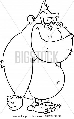 Outlined Gorilla Cartoon Character