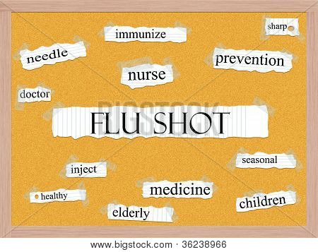 Flu Shot Corkboard Word Concept