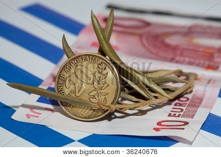 Greek Currency (drachma And Euro)