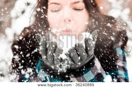 Closeup Photo of a young woman in the snow