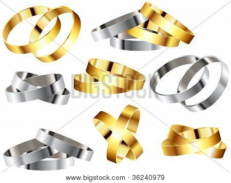 Metal Rings Bracelets Wristband Set