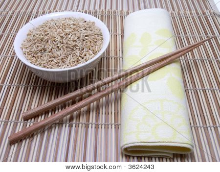 Rice And Asian Chopsticks