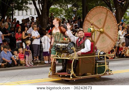 H.G. Wells fans drive a time machine in the annual DragonCon parade