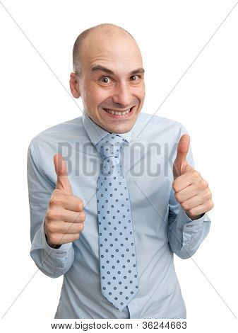 Cunning Businessman Shows His Thumbs Up