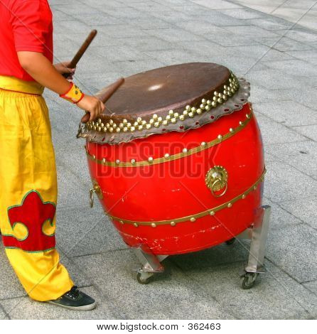 Chinese Drummer At Work
