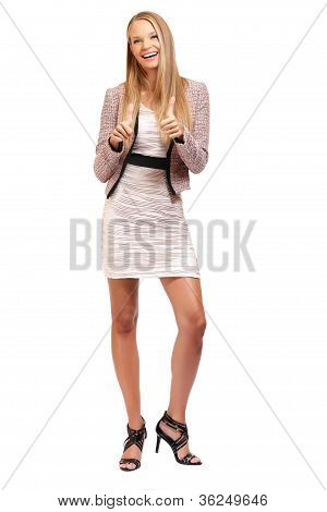 Happy Elegant Busineswoman Posing On White Background
