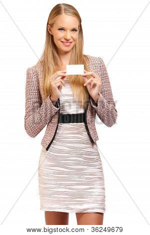 Young Blonde Employe Holding A Blank Businesscard