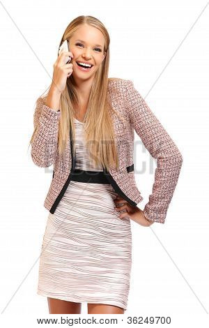 Happy Boss With Phone Isolated On White