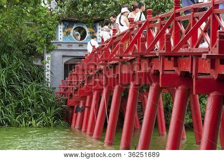 Huc Bridge Over Hoan Kiem Lake