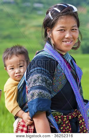 Hmong Woman And Child