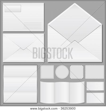 Envelopes, paper, and postage stamps