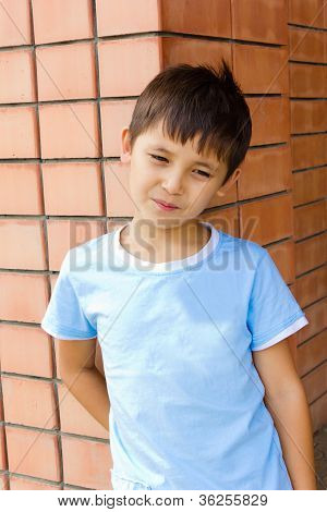Sad Boy Against A Brick Wall