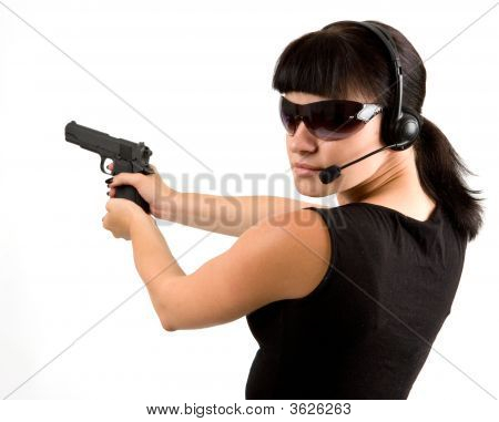 Girl With Pistol And Headphones