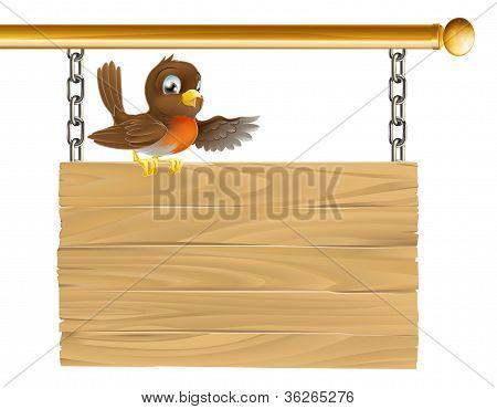 Robin Sitting On Sign Board