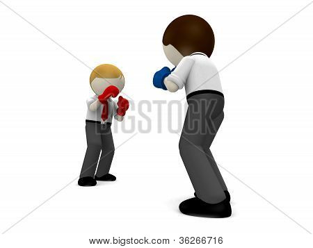 3D Boxing Concept For Business Rivalry.