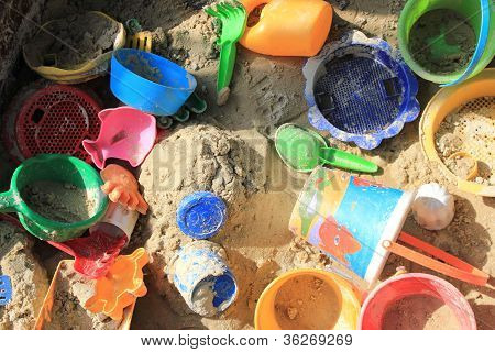 Colorful Toys In A Sandpit