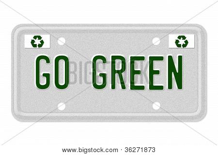 Go Green Car License Plate