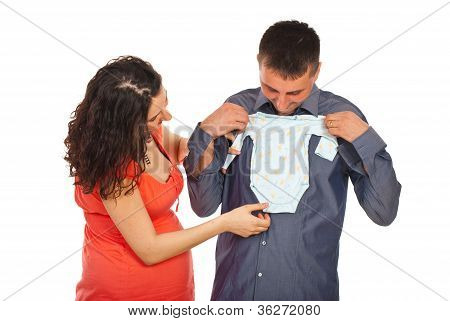 Future Parents Holding Baby Cloth