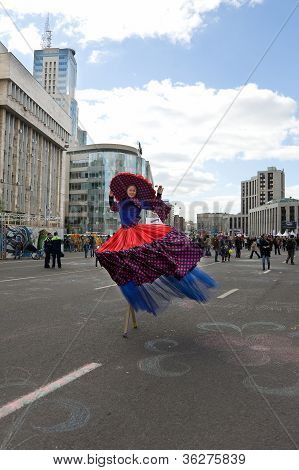 Moscow - September 1, 2012: Woman In Fancy-dress  Go On Prospectus  Academician Sakharova During A 8
