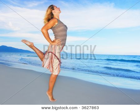 Woman Dancing Near Ocean