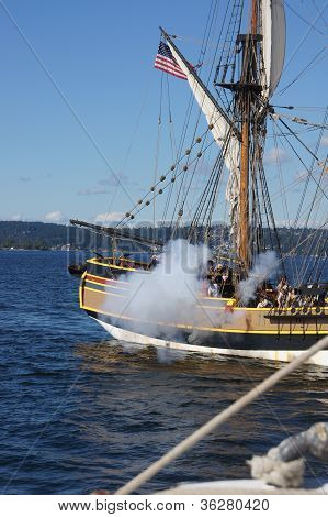 The Wooden Brig, Lady Washington, Fires Her Cannon