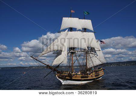The Wooden Brig, Lady Washington, Sails On Lake Washington