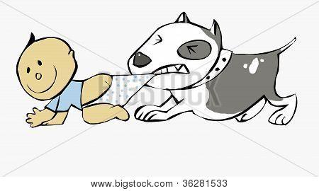 Pit bull Pulling Baby
