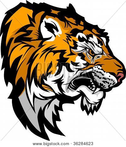 Tiger Head Profile Graphic Mascot Illustration