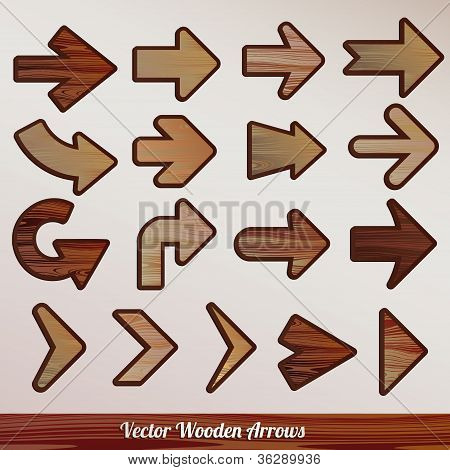 Wooden Arrows, set vector